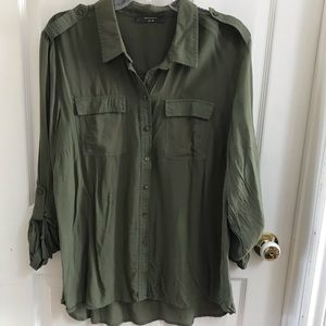 Army Green Button Down Collared Dress Shirt